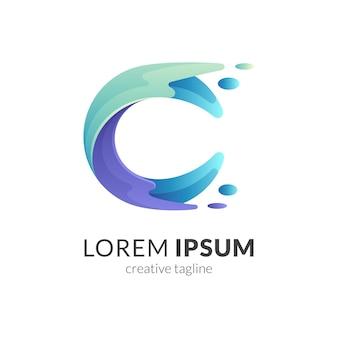 Logo de lettre eau vague isolé sur blanc