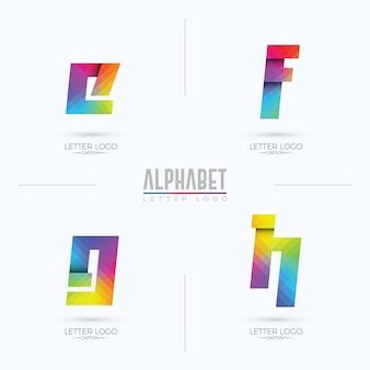 Logo de lettre efgh de style origami pixélisé dégradé coloré