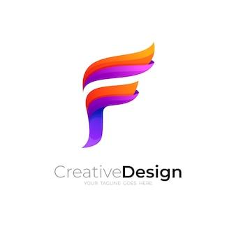 Logo de la lettre f abstraite et icône de style 3d