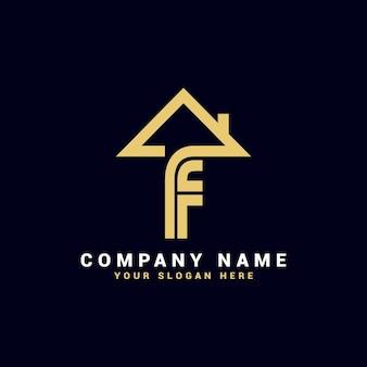 Logo de lettre f immobilier, logo d'appartement f, logo de maison f