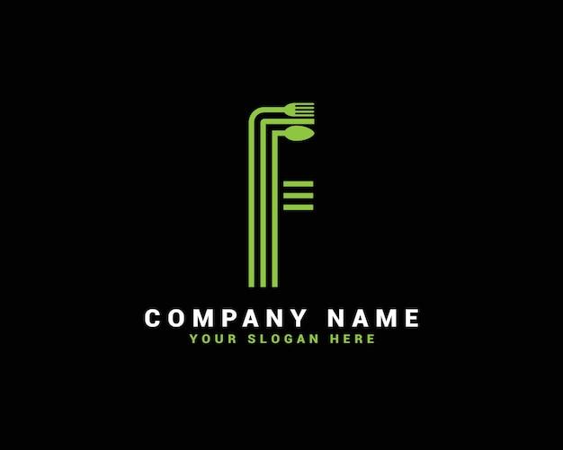 Logo de lettre f, logo de lettre de nourriture f, logo de lettre de cuillère f