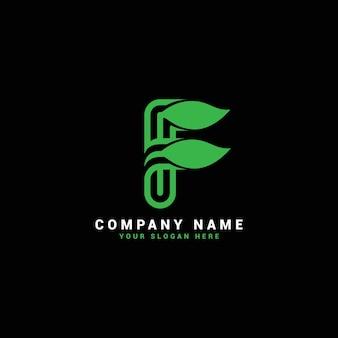 Logo de lettre f naturel, logo de lettre f avec feuilles, éco, botanique