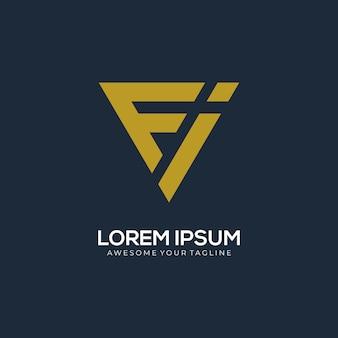 Logo lettre fi monogramme moderne concept créatif
