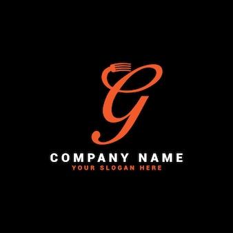 Logo de la lettre g food avec le symbole de la fourchette