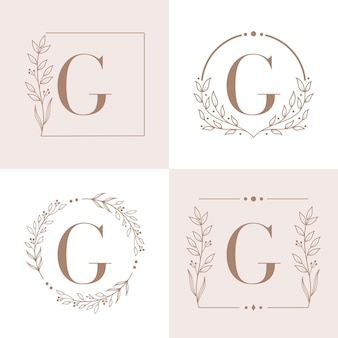 Logo de la lettre g avec modèle de fond de cadre floral