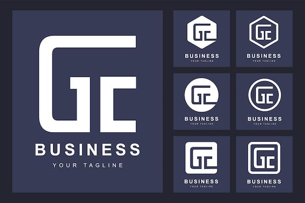 Logo de lettre ge minimaliste avec plusieurs versions