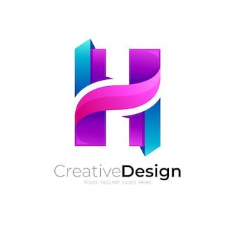 Logo de la lettre h avec un design simple coloré
