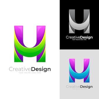 Logo de la lettre h simple et icônes 3d colorées et modernes