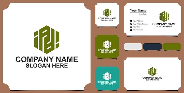 Logo lettre hexagone boîte premium et carte de visite