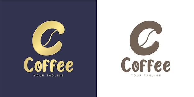 Logo de la lettre c avec l'icône de grain de café