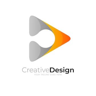 Logo De La Lettre D Avec Illustration De Conception De Jeu Vecteur Premium