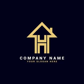 Logo de lettre de l'immobilier h, logo de l'appartement h, logo de la maison h