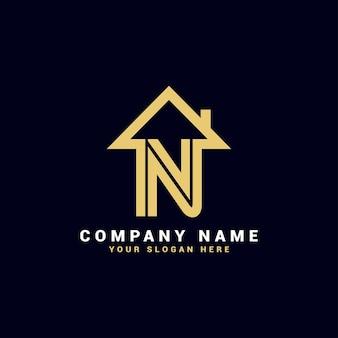 Logo de lettre de l'immobilier n, logo de l'appartement n, logo de la maison n