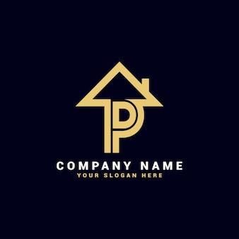 Logo de lettre de l'immobilier p, logo de l'appartement p, logo de la maison p