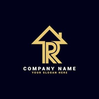 Logo de lettre d'immobilier r, logo d'appartement de r, logo de maison de r