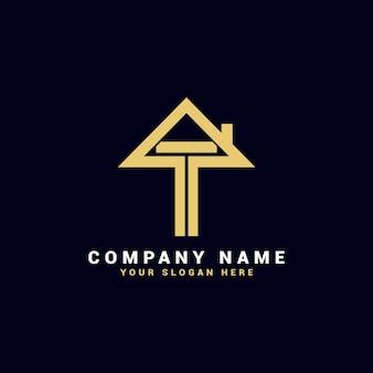 Logo de lettre de l'immobilier t, logo de l'appartement t, logo de la maison t