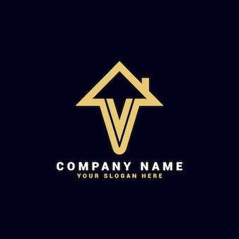 Logo de lettre de l'immobilier v, logo de l'appartement v, logo de la maison v