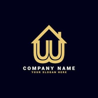 Logo de lettre de l'immobilier w, logo de l'appartement w, logo de la maison w