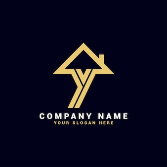 Logo de lettre de l'immobilier y, logo de l'appartement y, logo de la maison y