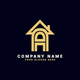 Un logo de lettre immobilière, un logo d'appartement, un logo de maison