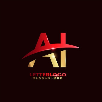 Logo de lettre initiale ai avec design swoosh pour le logo de l'entreprise et de l'entreprise.