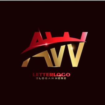 Logo de la lettre initiale aw avec design swoosh pour le logo de l'entreprise et de l'entreprise.