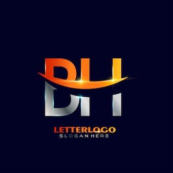 Logo de la lettre initiale bh avec design swoosh pour le logo de l'entreprise et de l'entreprise.