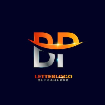 Logo de la lettre initiale bp avec design swoosh pour le logo de l'entreprise et de l'entreprise.