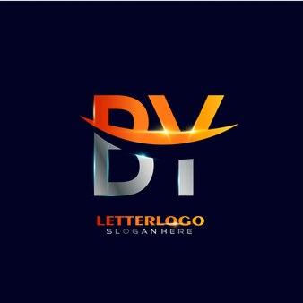 Logo de la lettre initiale by avec design swoosh pour le logo de l'entreprise et de l'entreprise.