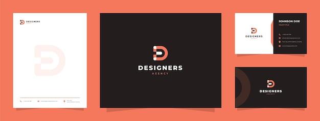 Logo de la lettre initiale d pour agence de design graphique avec carte de visite et papier à en-tête
