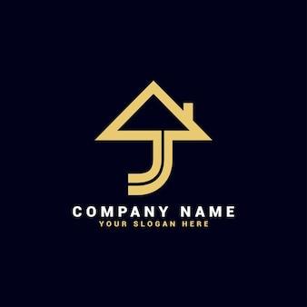 Logo de lettre j immobilier, logo d'appartement j, logo de maison j