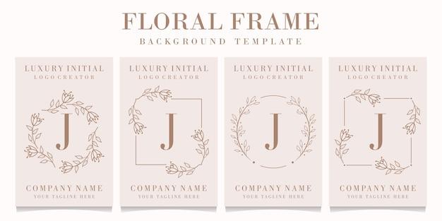 Logo de la lettre j avec modèle de cadre floral