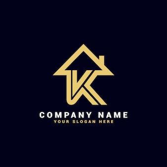 Logo de lettre k immobilier, logo d'appartement k, logo de maison k