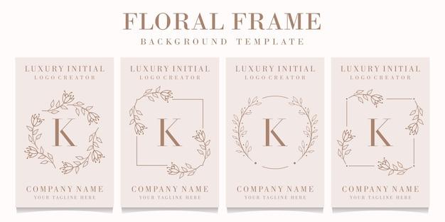 Logo de la lettre k avec modèle de cadre floral