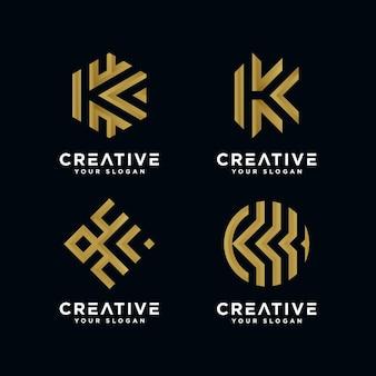 Logo de la lettre k d'or premium pour l'entreprise.