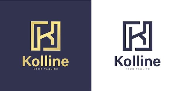 Logo de lettre k simple avec concept de «forme carrée»