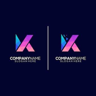 Logo lettre k technologie géométrique moderne coloré