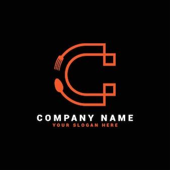 Logo de lettre c, logo de lettre de nourriture c, logo de lettre de cuillère c