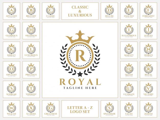 Logo de lettre luxueux serti de style d'ornement classique royal