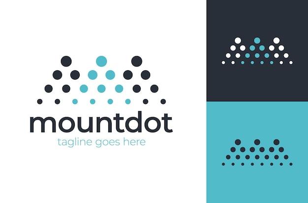 Logo lettre m concept de paysage d'investissement de montagne points forme de demi-teinte