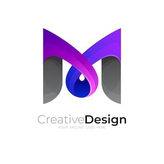 Logo de la lettre m et modèle d'icône colorée