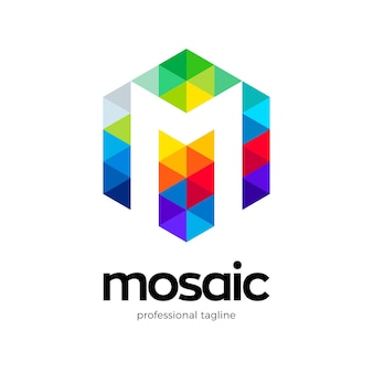 Logo de la lettre m en mosaïque