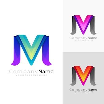 Logo de la lettre m avec un vecteur de conception moderne, 3d coloré