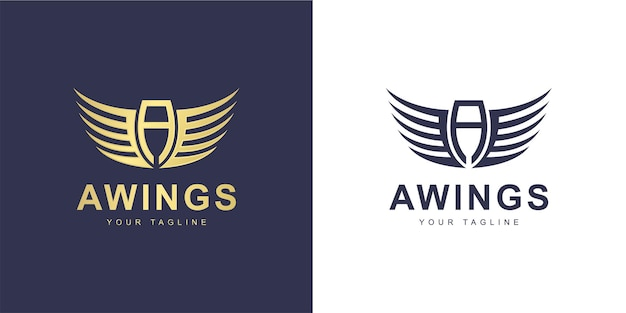 Logo de lettre a minimaliste avec ailes et concept de vol