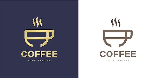 Logo de lettre a minimaliste avec concept de café ou de café