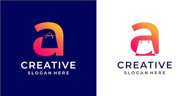 Logo de lettre a minimaliste avec concept de magasinage et de magasin en ligne