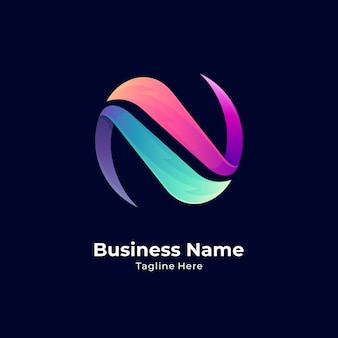 Logo de lettre n cercle créatif