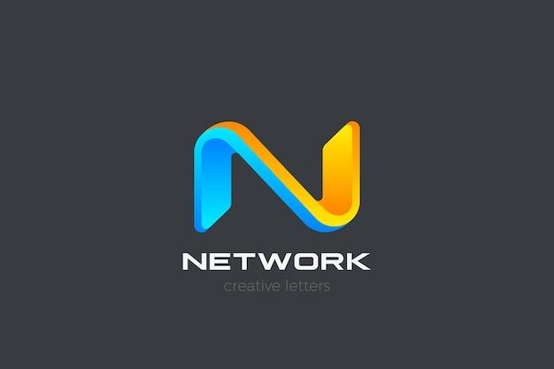 Logo de la lettre n. style 3d de la technologie des médias.