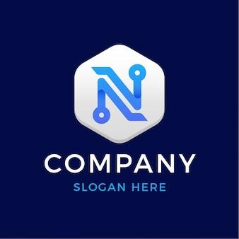 Logo de la lettre n de la technologie numérique moderne