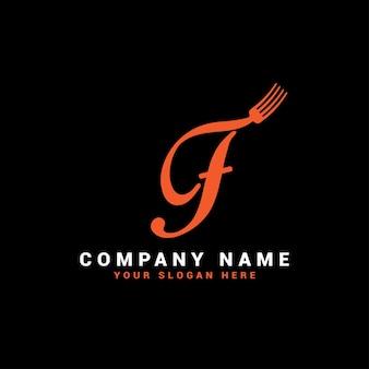 Logo de lettre de nourriture f avec symbole de fourchette